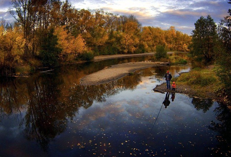 осень, отражения, облака, рыбалка На рыбалкеphoto preview