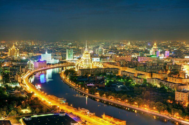 город, москва, ночь, река, высотки photo preview
