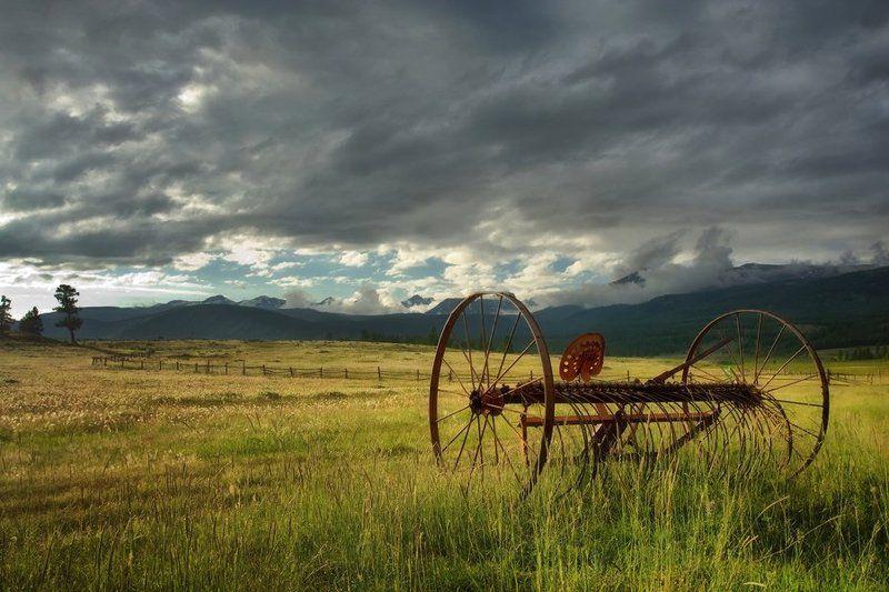 горный, алтай, джазатор, сельский, пейзаж, горы, пастбище ***photo preview