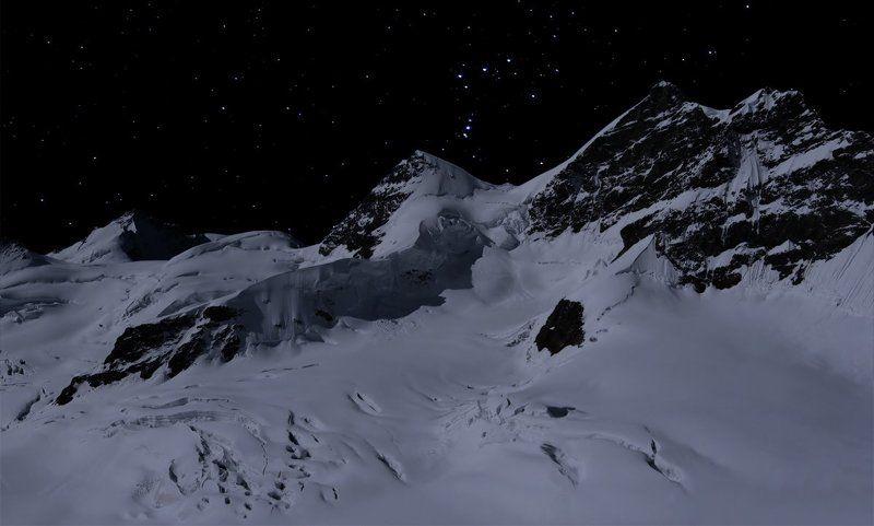 горы, звезды, ночь, луна Under the light of the starsphoto preview