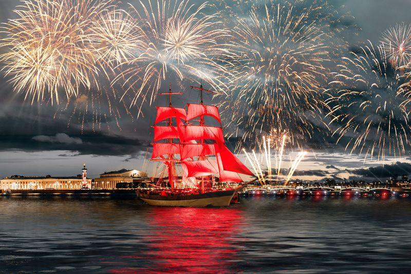 summer, russia, спб, лето, city, sky, небо, город, архитектура, река, праздник, салют, fireworks Алые Парусаphoto preview