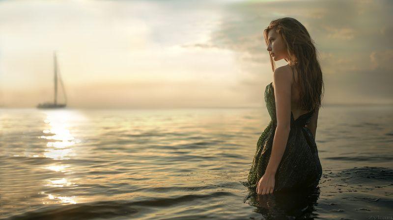 девушка, вода, волны, небо, корабль, закат, фото_недели, фото_дня, girl, water, sunset, ship, waves, wet, hair, best, best, of, the, weak photo preview