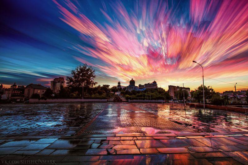 природа, пейзаж, красота, небо, облако, облака, город, рассвет, закат Акварель дождливого вечераphoto preview