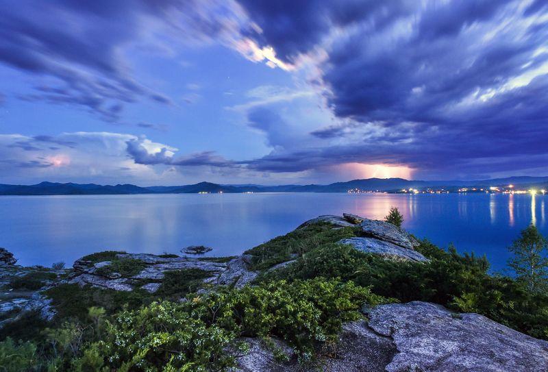 казахстан, бухтарма, пейзаж, ночь, молния, небо, вода,  Ночь на Бухтармеphoto preview