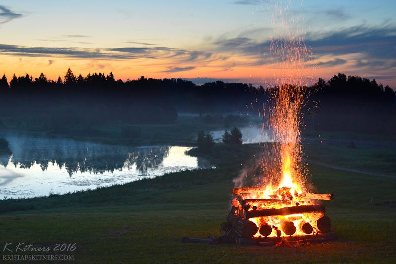 fire flame midsummer landscape river forest tree water night The Midsummer Night Firephoto preview