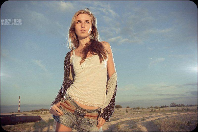 девушка, портрет, песок, закат, вспышки Ленаphoto preview