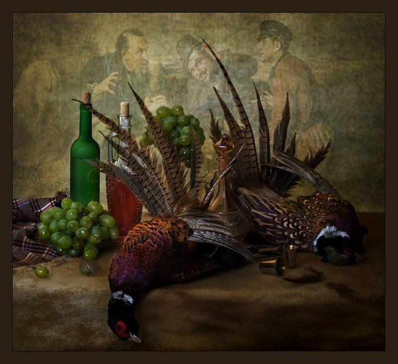 funtry, бутылки, вино, виноград, груша, дичь, натюрморт, охота, фазаны, фрукты, яблоко Фазаныphoto preview