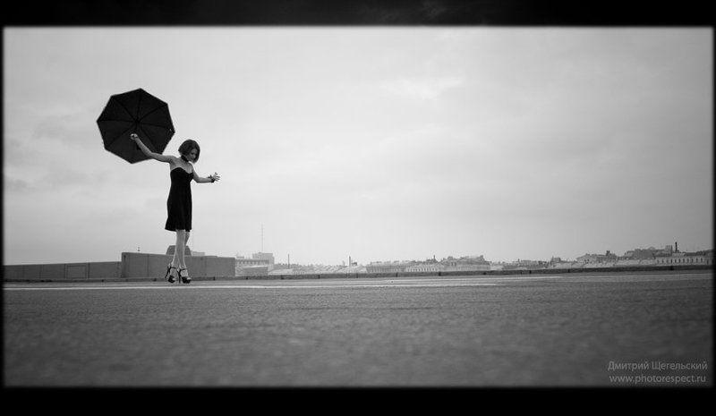 девушка, утро, зонт, петербург Утроphoto preview