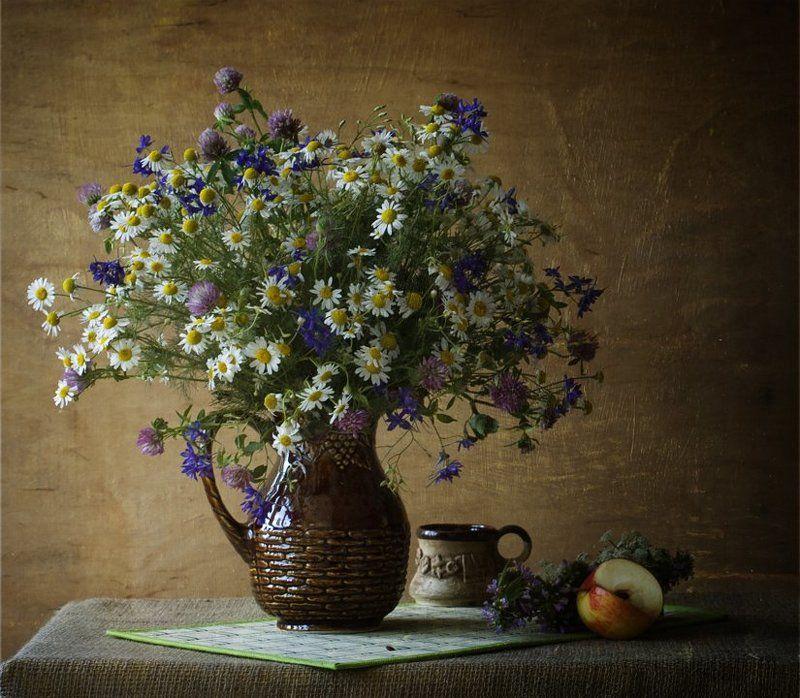 funtry, букет, ваза, васильки, клевер, композиция, кувшин, натюрморт, полевые цветы, ромашка, цветы, чашка, яблоко Кашки-ромашкиphoto preview