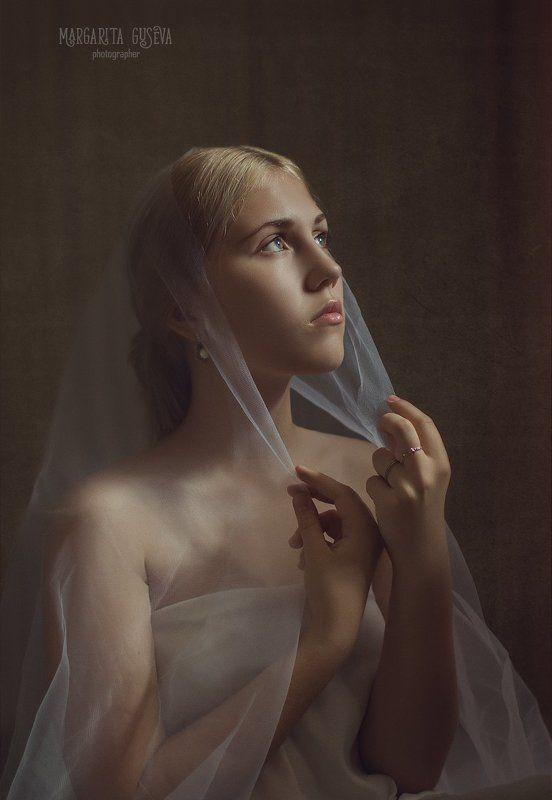 девушка, портрет, невеста, на выданьи, Маргарита Гусева, Margarita Guseva, винтаж, картина На выданьиphoto preview