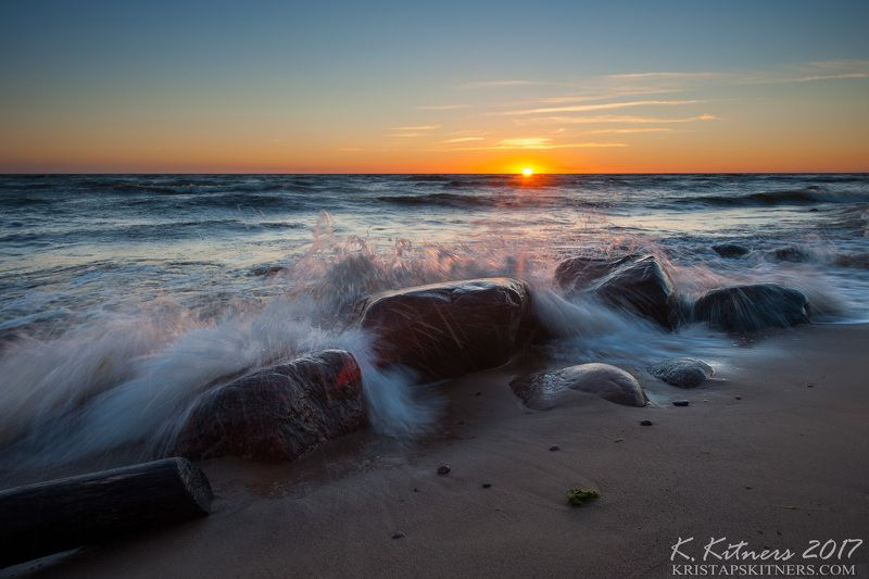sea seascape water wave sky clouds stone reflection sunset evening latvia Evening Wavephoto preview