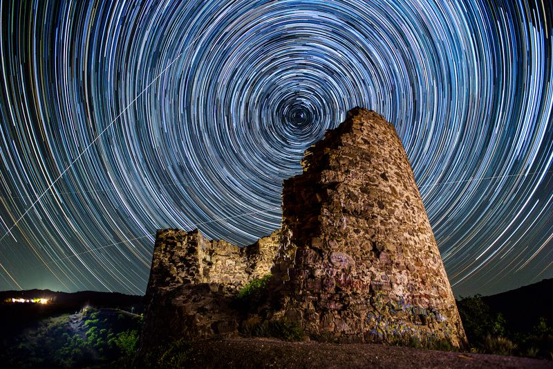 night, landscape, tower, star, timelaps, track, nature Чобан-Кулеphoto preview