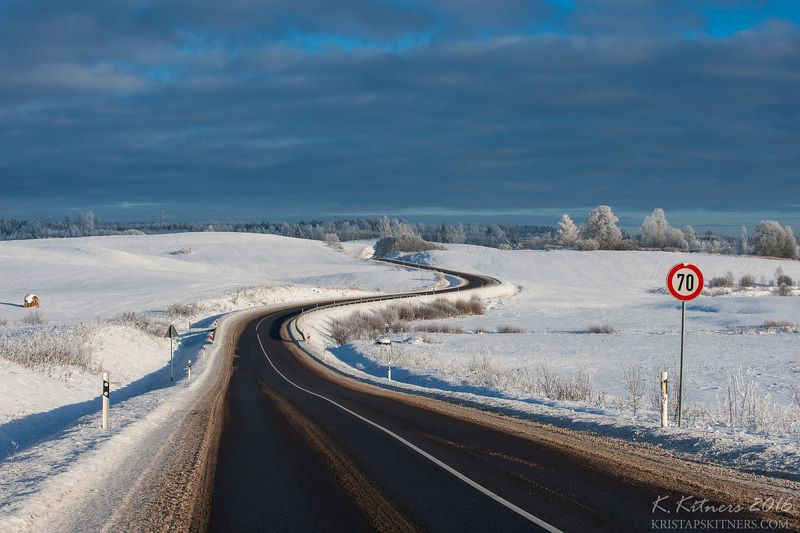 snow way road tree forest white winter sky clouds latvia landscape field sign The Winter Roadphoto preview