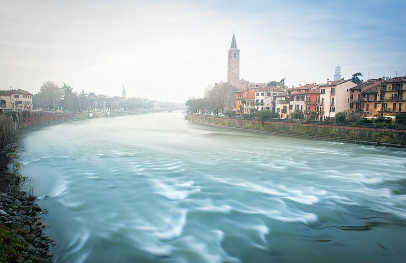 верона, италия рассвет, цвет, река Рассвет в Веронеphoto preview