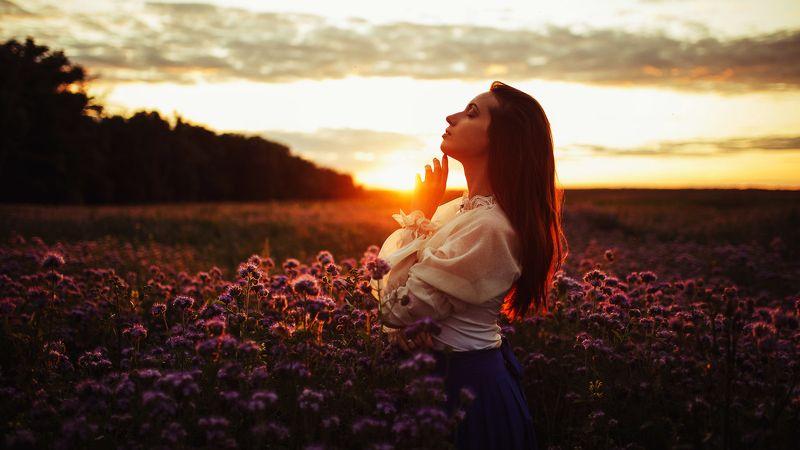 девушка, портрет, природа, закат, цветы, поле закатphoto preview