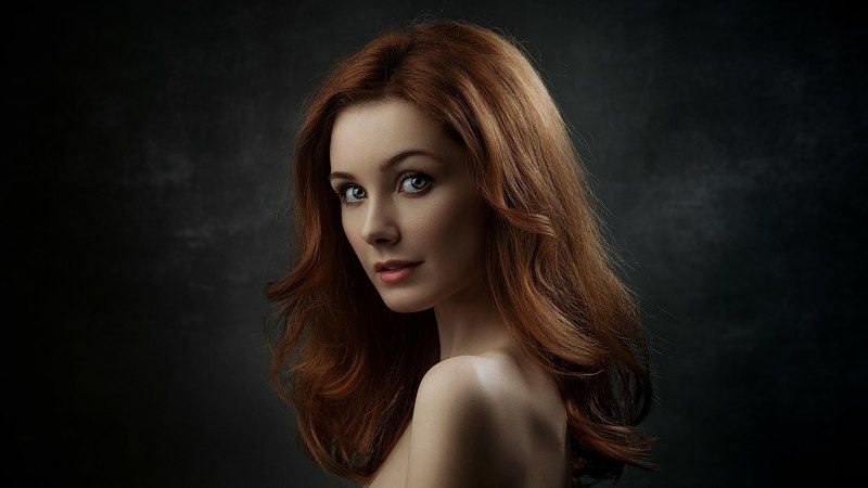 young, beauty, girl, woman, red, hair, color, eyes, emotions, portrait, light, dark, model Ritaphoto preview