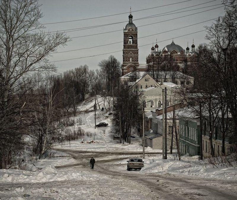 город, провинция, собор, зима, улица Городок провинциальный...photo preview