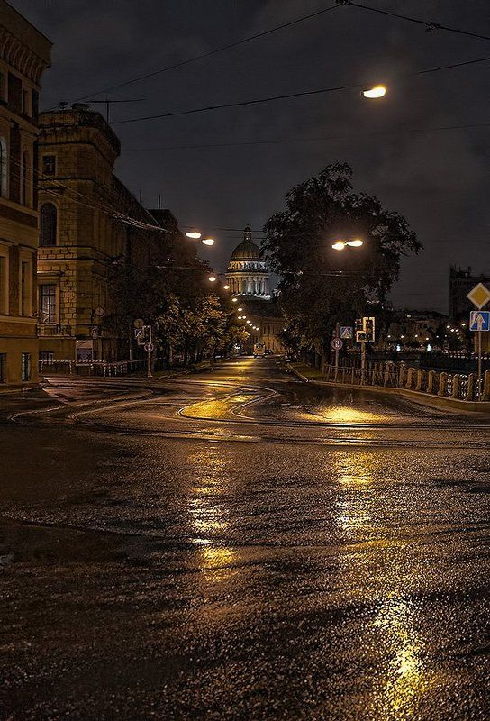 исаакиевский, собор, ночь, после, дождя, питер ***photo preview