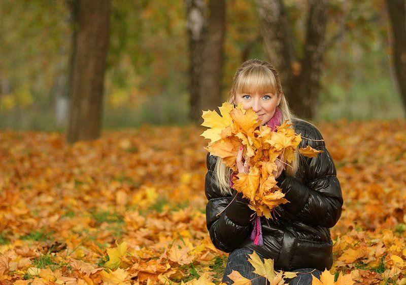 осень, девушка, парк, листья, Золото осени...photo preview