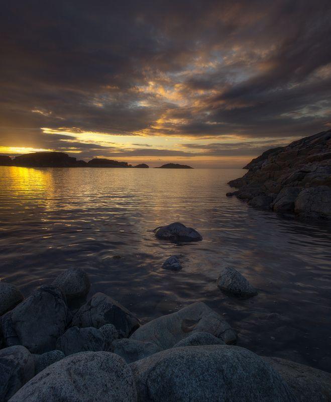 Закат, Дальные Зеленцы, Кольский полуостров Вечерелоphoto preview