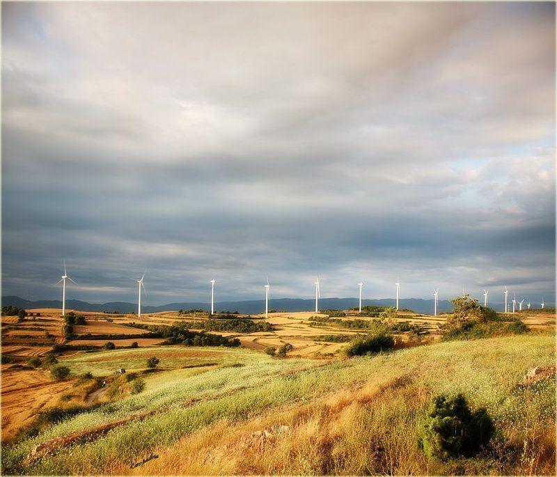 испания, утро, ветряки, поле Ветрякиphoto preview