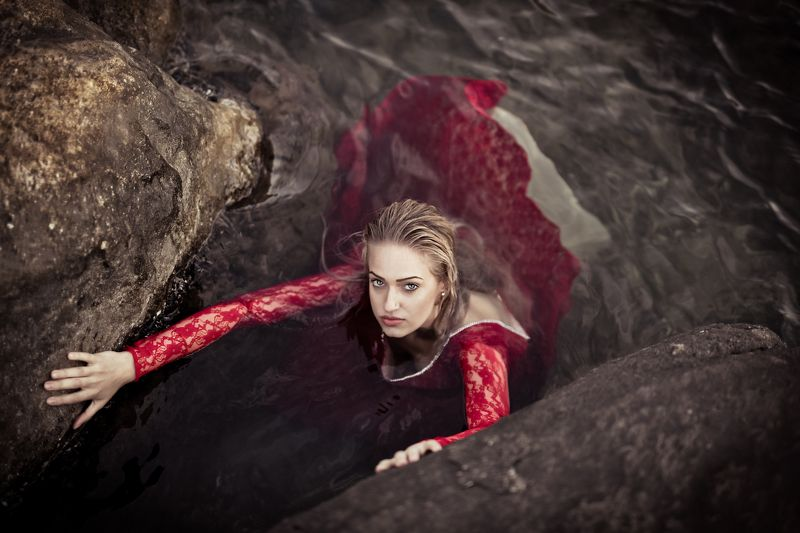 red, dress, model, sea, blonde, hair, fashion From The Deepphoto preview