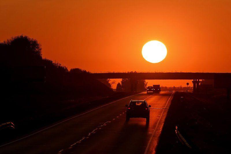 дорога, закат, солнце, road, sunset, sun Домой...photo preview