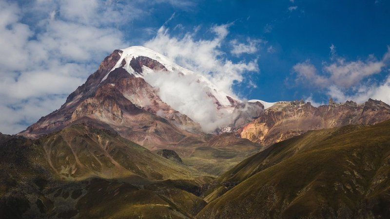 грузия, казбек, горы, пейзаж, облака, снег Казбекphoto preview