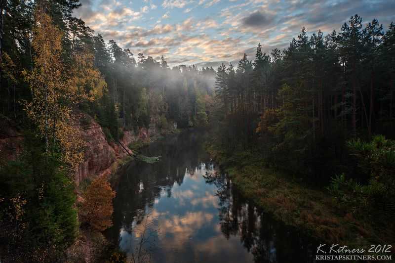 river cliff reflection autumn forest tree leaf fog morning sky clouds Autumn On The Riverphoto preview