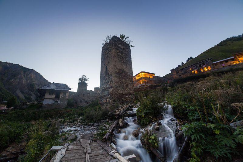 грузия, вечер, башня, сумерки, ручей Вечер в Сванетииphoto preview