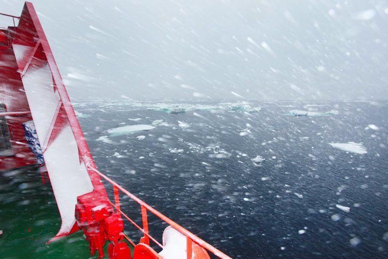 пурга, карское море, снег, севморпуть ВСЁ БЫ НИЧЕГО, ДА ЗА ВОРОТНИК ЗАДУВАЕТphoto preview
