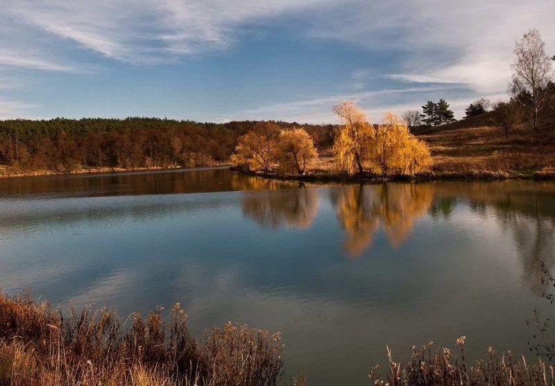 осень, озеро, облака, небо, вода, отражения, ноябрь ***photo preview