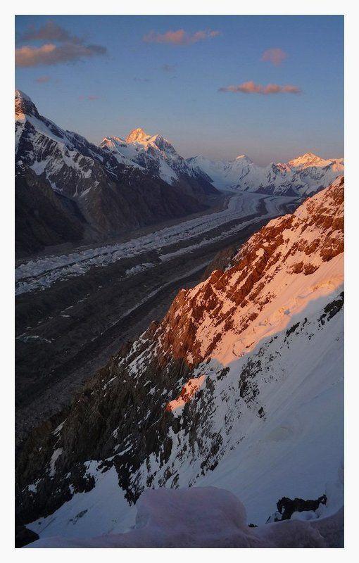 альпинизм, экспедиция, иныльчек, хан-тенгри, пик шахтеров украины Закат с видом на Хан-Тенгриphoto preview