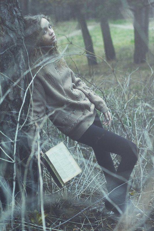девушка, лес, атмосфера, книга photo preview