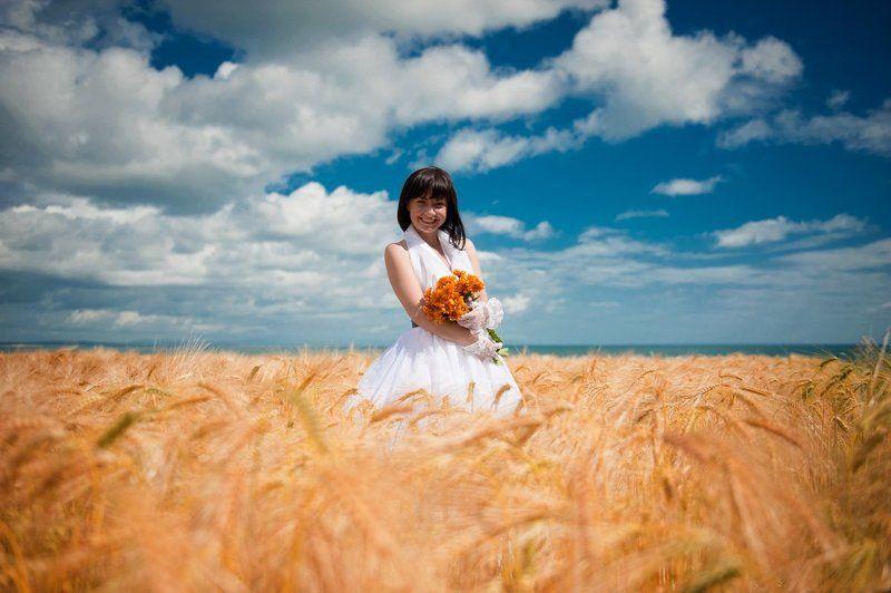 свадьба, ирландия, поле, море, колос, платье Свадебное настроениеphoto preview