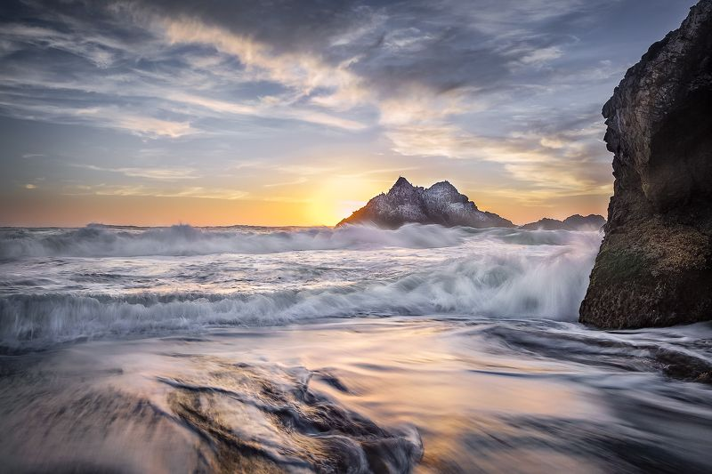 тихий океан, закат, солнце, скалы, бакланы, сан-франциско, прилив *Тихий*photo preview