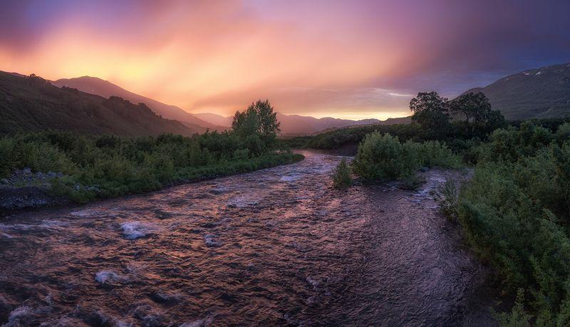 камчатка, закат, река, цвета Закат на реке Паратункаphoto preview