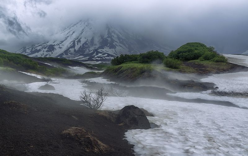 камчатка, вулкан, туман, сумерки, ***photo preview