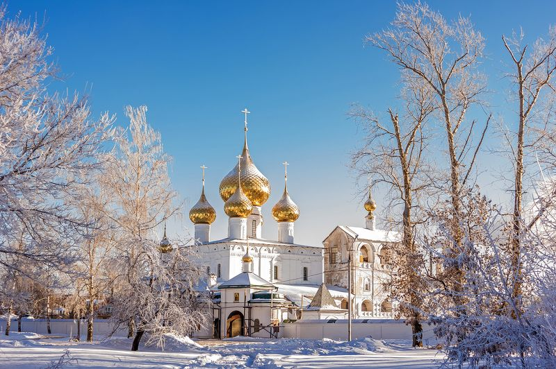 зима, монастырь, углич, купола, снег, мороз Золотые куполаphoto preview