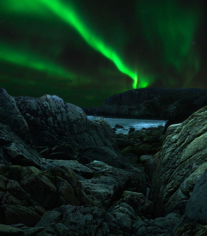 Северное сияние, Дальние Зеленцы, Кольский полуостров, Aurora Borealis, Dalnie Zelency Свет в ночиphoto preview