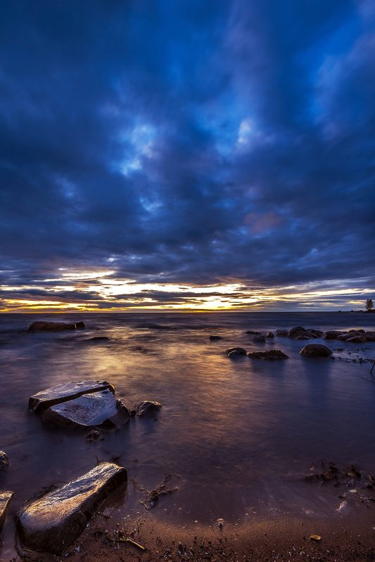 камни,закат, море, водохранилище, рыбинск, берег,  небо Скользкие камниphoto preview