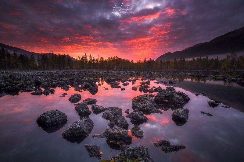 рассвет, бурятия, лавовые озера, камни, лес, осень, озеро Красная угрозаphoto preview
