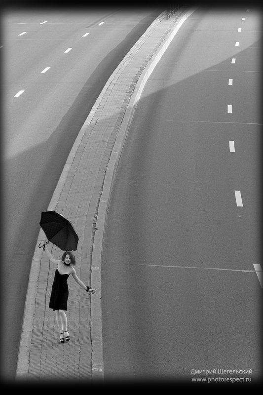 девушка, утро, зонт, петербург Рассветphoto preview