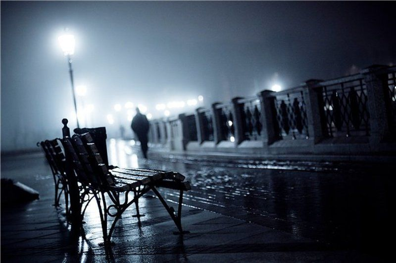 ночь, дождь, силуэт ***photo preview