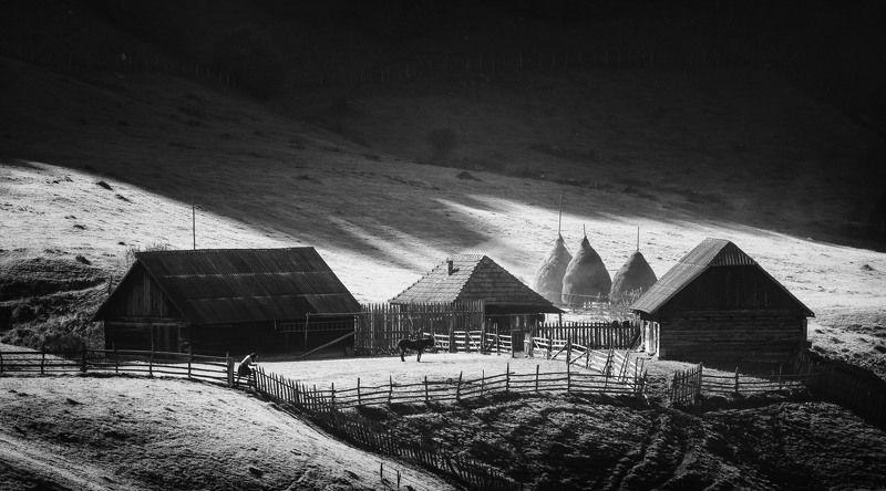 landscape, mountain, light, nature, пейзаж, природа, горы, rural, idyll, village,home, sunrise, black&white Rural idyllphoto preview