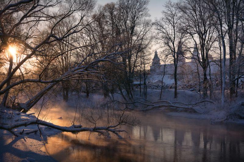 зима, мороз, иней, утро, рассвет, пейзаж, истра Зимним утром на Истреphoto preview