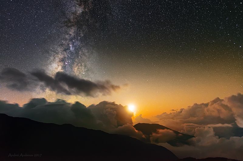 nepal, milky way, stars, lantang, clousky, travel, soft light, Лунная ночьphoto preview