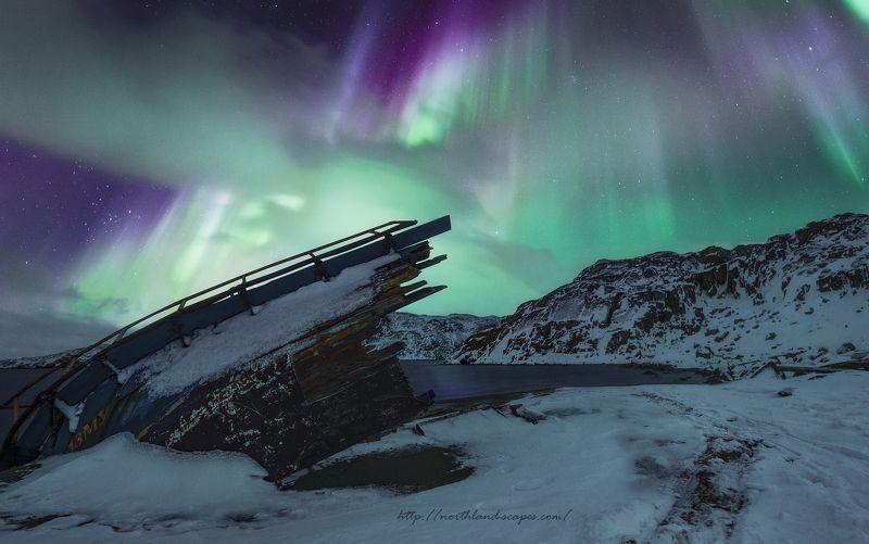 aurora borealis, северное сияние, кольский  полуостров, баренцево море Aurora Borealisphoto preview