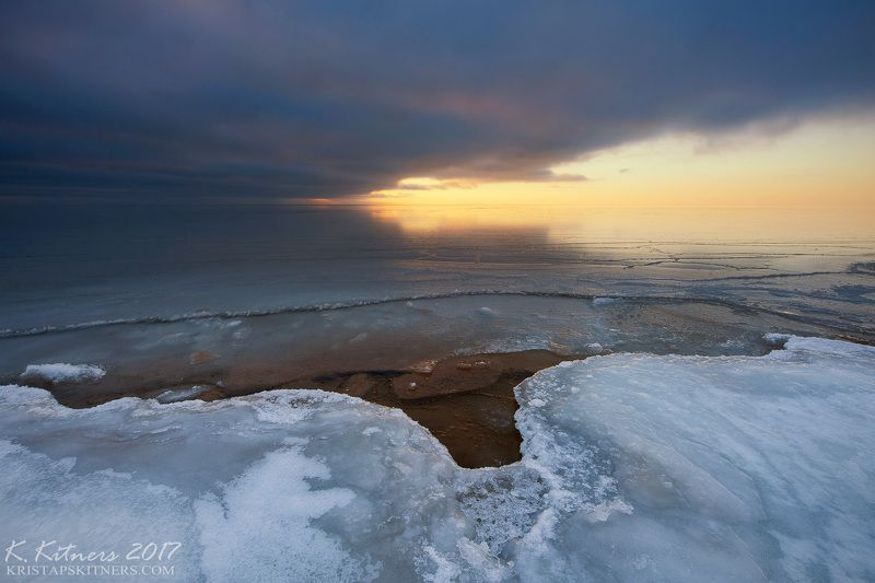 sea seascape ice snow winter sky clouds reflection sunset evening latvia The Ice Notchphoto preview