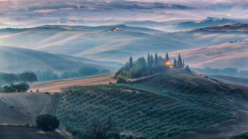 Италия Тоскана Рассвет Belvedere Утренняя Тосканаphoto preview